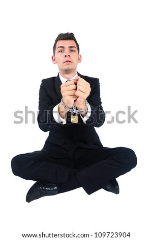 Isolated business man locked with chain