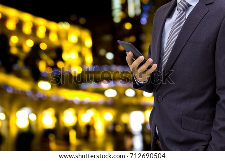 isolated business man on blurred xmas background #712690504