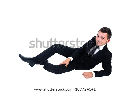 Isolated business man smiling at camera