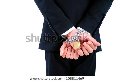 Isolated Business man tied with chain
