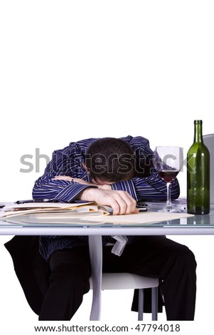 Isolated Businessman At His Desk Sleeping - White Background