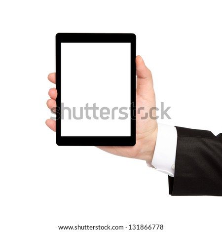 isolated businessman hand holding a tablet computer with isolated screen