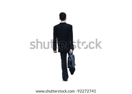 Isolated businessman walking on white background