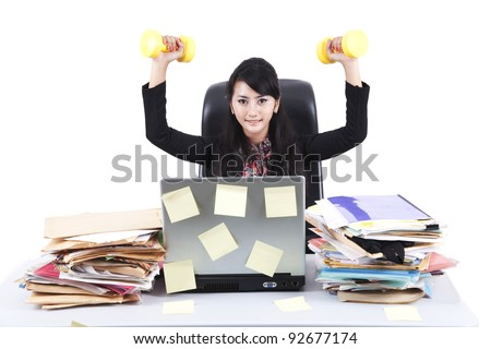 Isolated businesswoman sitting on white background with luggage