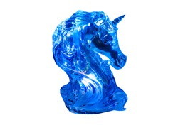 Isolated. Bust of a unicorn. Blue figure, statuette, toy. A horse with a horn. Fashionable, trendy color 2020 Classic Blue or Phantom Blue.