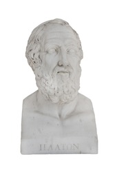 Isolated bust of Platon (died 348 before Christ) - sculpture in the Archilleion of Corfu palace in Greece.