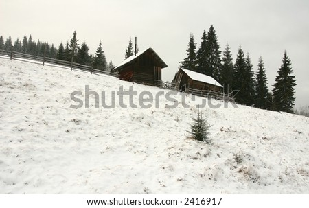 isolated cabin far in the mountains