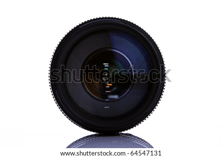 isolated camera lens on white background with reflection