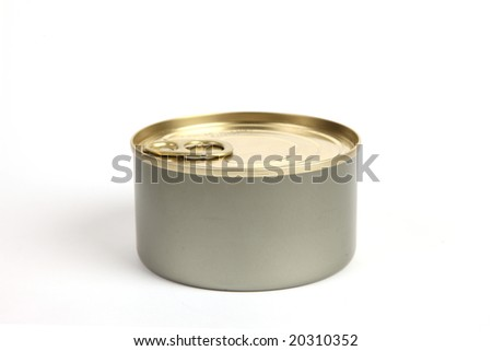 isolated can of tuna closed on a white background