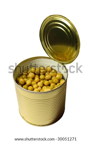 Isolated can (tin) with tinned green peas on white background