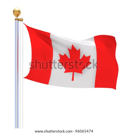 isolated Canada waving silk flag