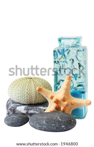 Isolated candle with sea creatures and pebbles