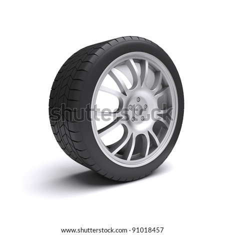 Isolated car wheel. 3d rendered image