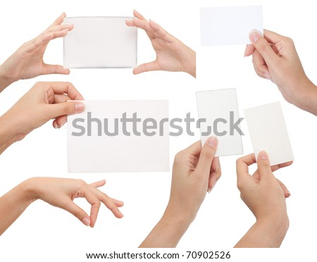 Isolated: card blank with hand on white backgroud