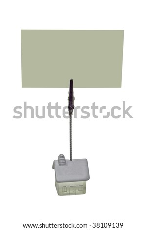 Isolated card holder clipped to card with space for your copy