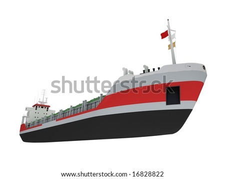 isolated cargo ship over white