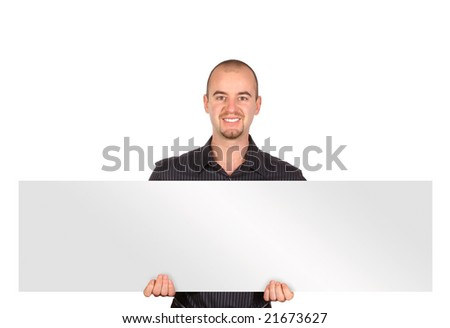 isolated caucasian young man with white board