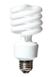 Isolated CF (compact fluorescent) light bulb on white background