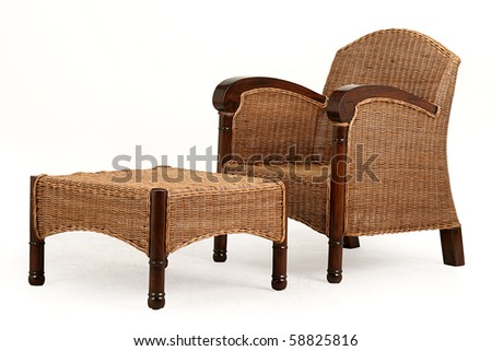 isolated  chair and desk made from straw; living room furniture
