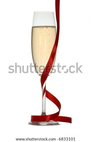 Isolated; champagne flute with hanging red ribbon