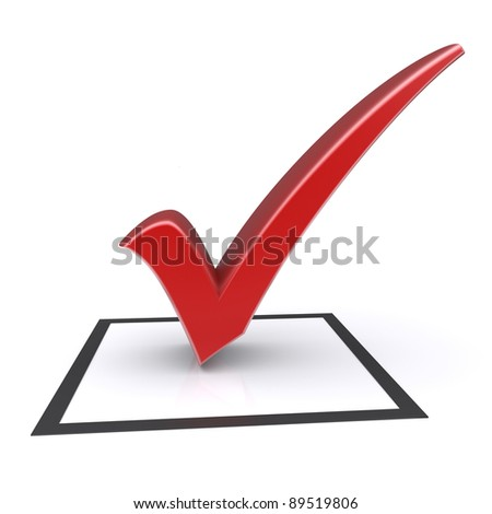 Isolated check box with check mark. 3d image