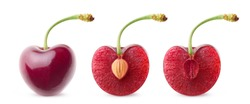 Isolated cherries in a row. Whole sweet cherry and cherry halves with and without pit isolated on white background