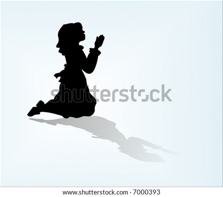 Isolated child silouette in prayer with floor reflection