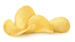Isolated chips. Group of potato chips isolated on white background with clipping path