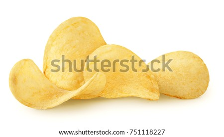 isolated chips. group of potato ...