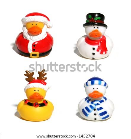 Isolated Christmas Ducks - stock photo