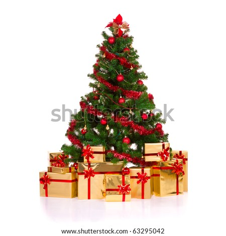 Isolated Christmas tree. - stock photo