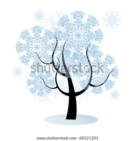 isolated christmas tree with snowflakes, background with modern design