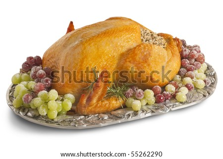 Isolated Christmas Turkey with clipping path