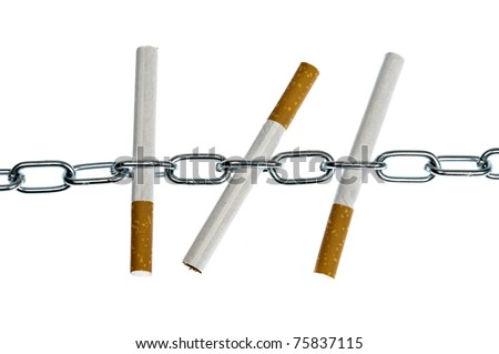 Isolated cigarettes in chain on white
