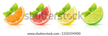 Isolated citrus fruits collection. Wedges of orange, pink grapefruit, lemon and lime with mint leaves on white background with clipping path