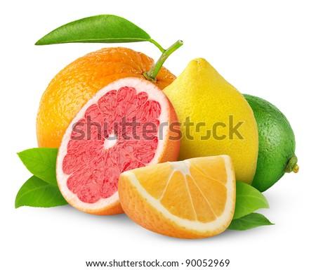 Isolated citrus fruits. Orange, grapefruit, lemon and lime isolated on white background #90052969