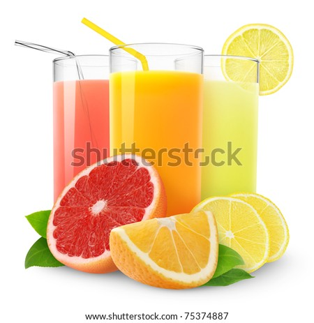 Isolated citrus juice. Three glasses with orange, grapefruit and lemon juice and cut fruits isolated on white background #75374887