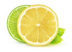 Isolated citrus slices. Cross section of lemon and lime isolated on white background with mint leaves