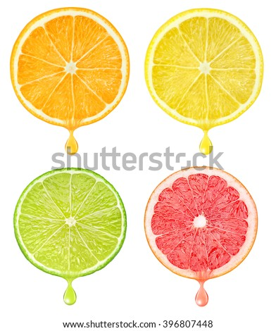 Isolated citrus slices. Cut pieces of orange, lemon, grapefruit and lime fruits with falling drop of juice isolated on white background with clipping path