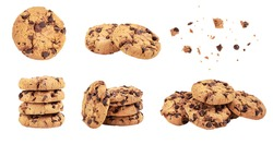 Isolated clipping path of die cut dark chocolate chip cookies piece set stack and crumbs on white background of closeup tasty bakery organic homemade American biscuit sweet dessert