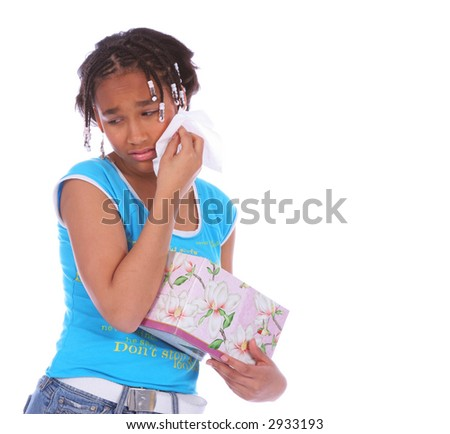 isolated close up african american girl wiping her tear off