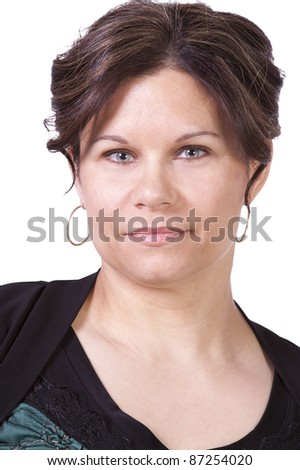 Isolated close up of a beautiful woman