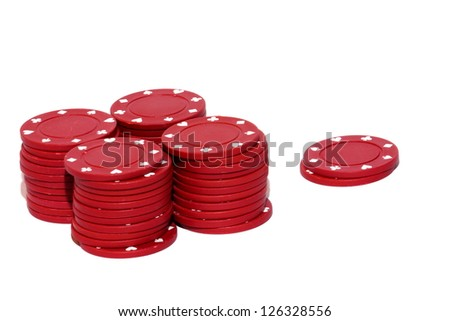 Isolated close up view of red clay gambling chips