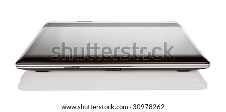 isolated closed black laptop with reflection