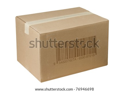 isolated closed shipping cardboard box whit bar code