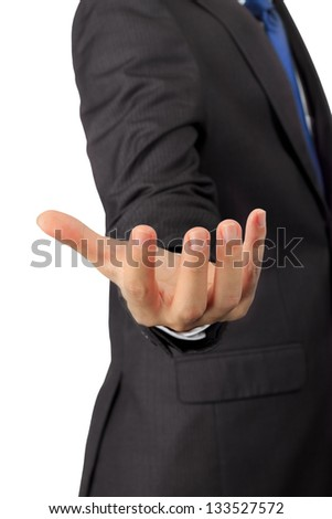 Isolated closeup on a hand of business man with hold posture