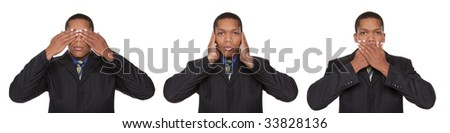 Isolated closeup studio shot of a businessman in the See No Evil, Hear No Evil, Speak No Evil pose.