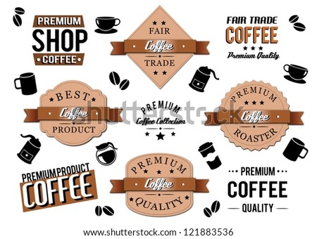 Isolated coffee icons and labels.