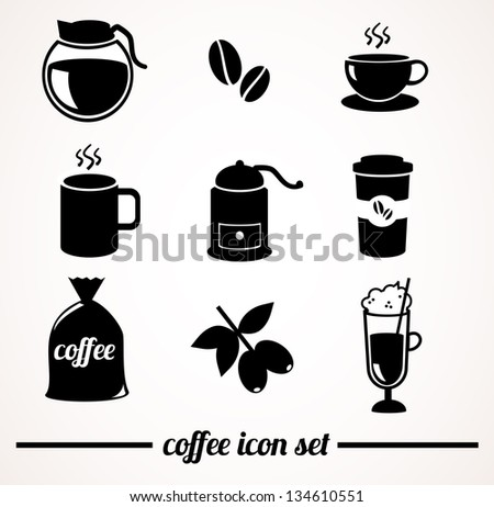 Isolated coffee icons on white background.