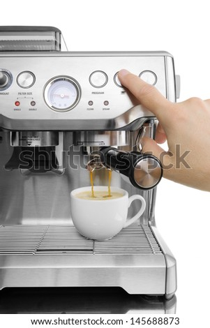 isolated coffee maker with the cup on a white background